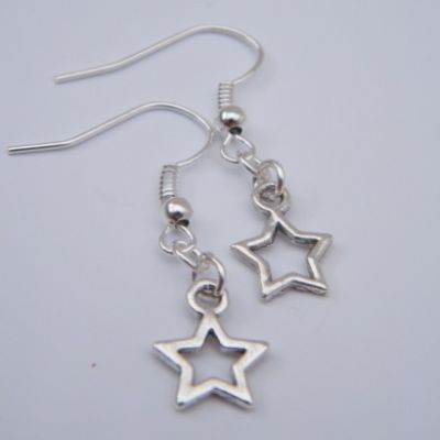 Star Outline Earrings - Drop Charm Style
